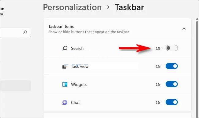 Ocultar botón de búsqueda en la barra de tareas de Windows 11.