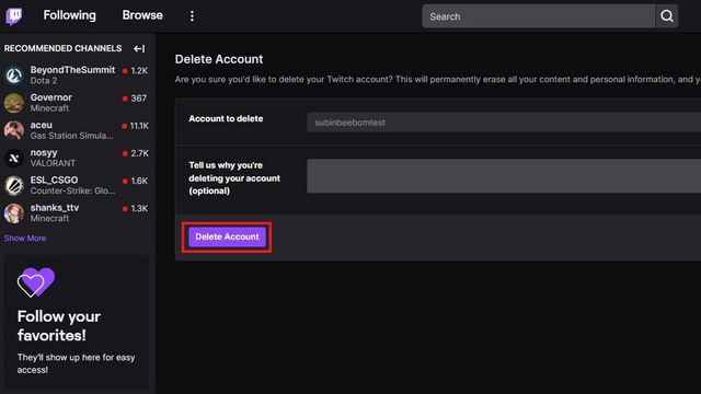 Eliminar cuenta de Twitch.