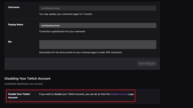 Desactivar cuenta de Twitch.
