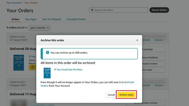 Así es como podemos ocultar pedidos Amazon