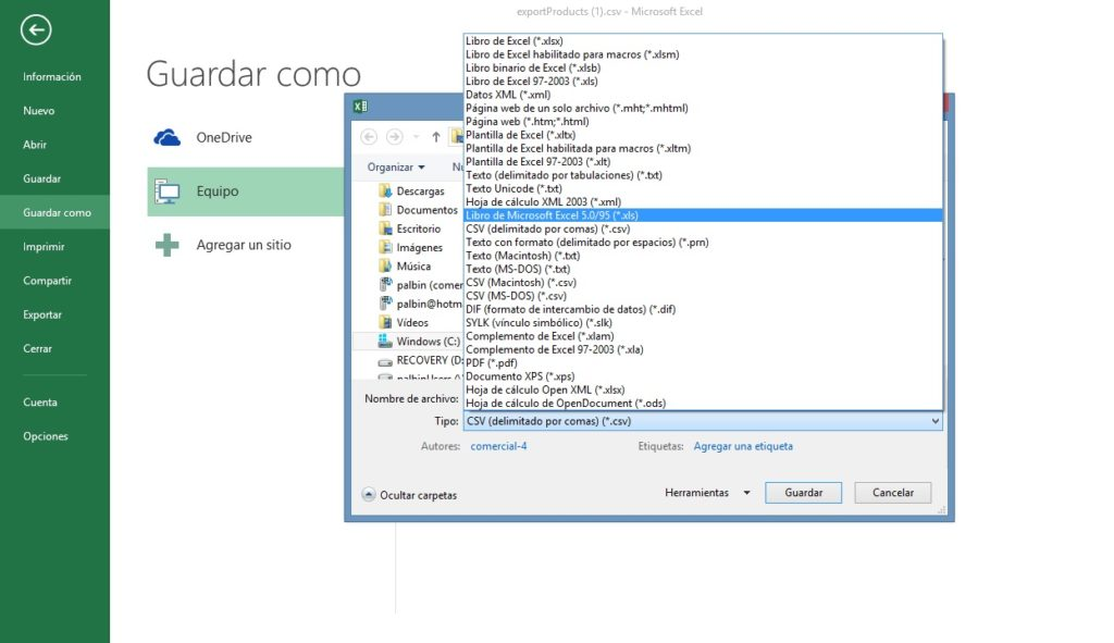 diferencia archivos CSV XLS 2