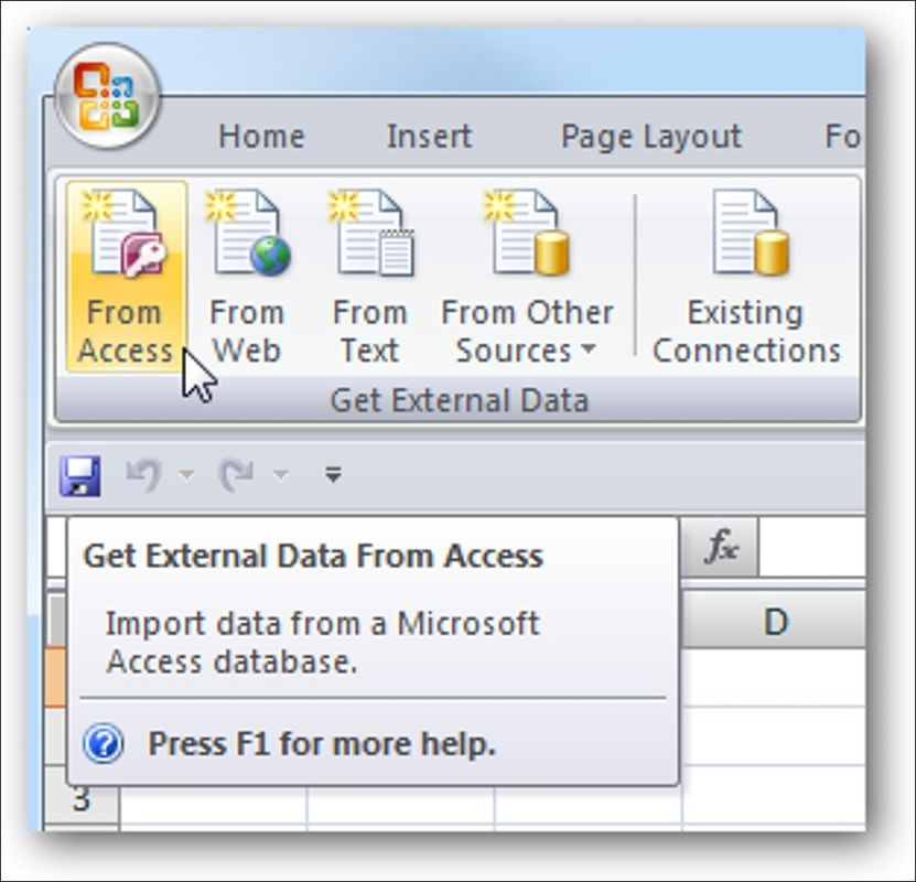 importar MS Access Excel 2
