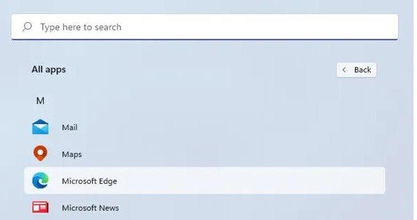 De esta forma podemos localizar aplicaciones menú inicio de Windows 11.